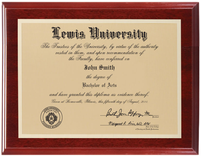 senior challenge  diploma plaque - lewis university