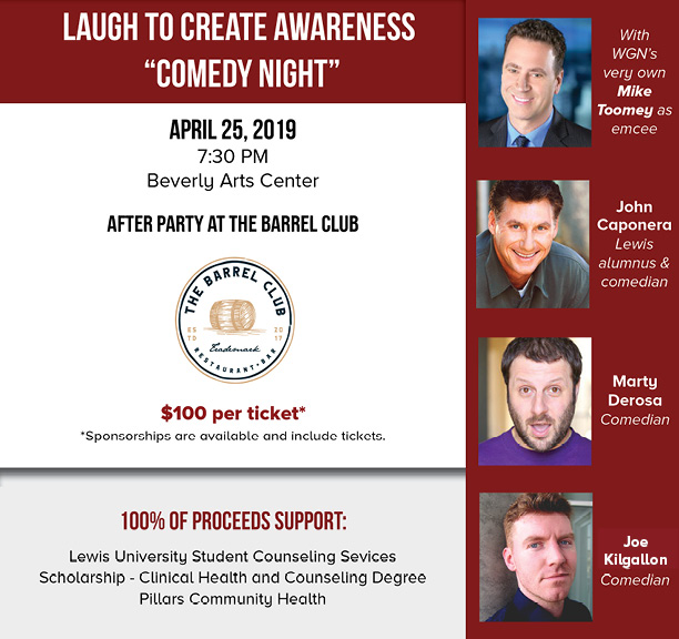 The Laugh To Create Awareness event will take place on April 25, 2018 at 7:30 p.m. at the Beverly Hills Center.